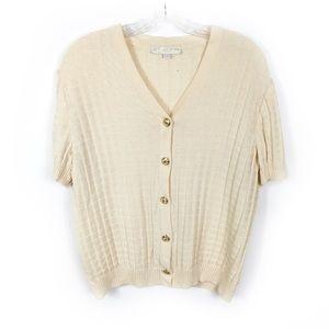 St. John Cream Short Sleeve Santana Knit Cardigan